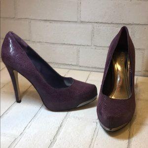 BCBG • Purple Leather Snakeskin heels • Sz 6.5